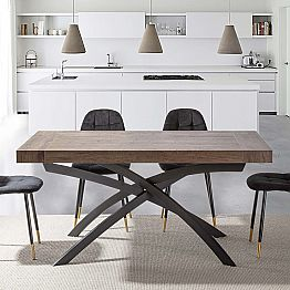 Dining Room Table in Melamine Wood Extendable Up to 280 cm - Lukas