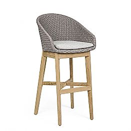 High Outdoor Stool in Rope and Teak Wood, Homemotion, 2 Pieces - Anitha