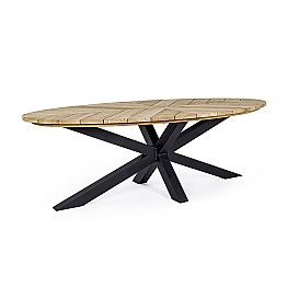 Outdoor Dining Table with Oval Top in Teak, Homemotion - Selenia